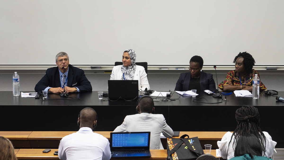 Amr Adly, Ghada Bassioni, Regina Maphanga and Olanike Adeyemo were the speakers of a panel of the YASE meeting about challenges to keep links with Europe when you come back to do research in Africa ©Raymond Gomez/Afriscitech